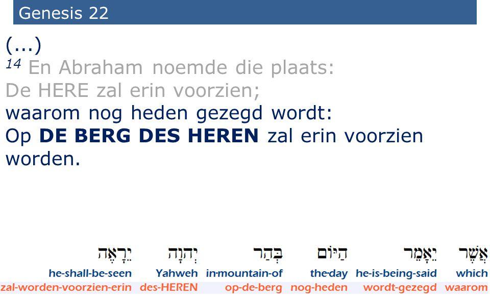 14 En Abraham noemde die plaats: De HERE zal erin voorzien;