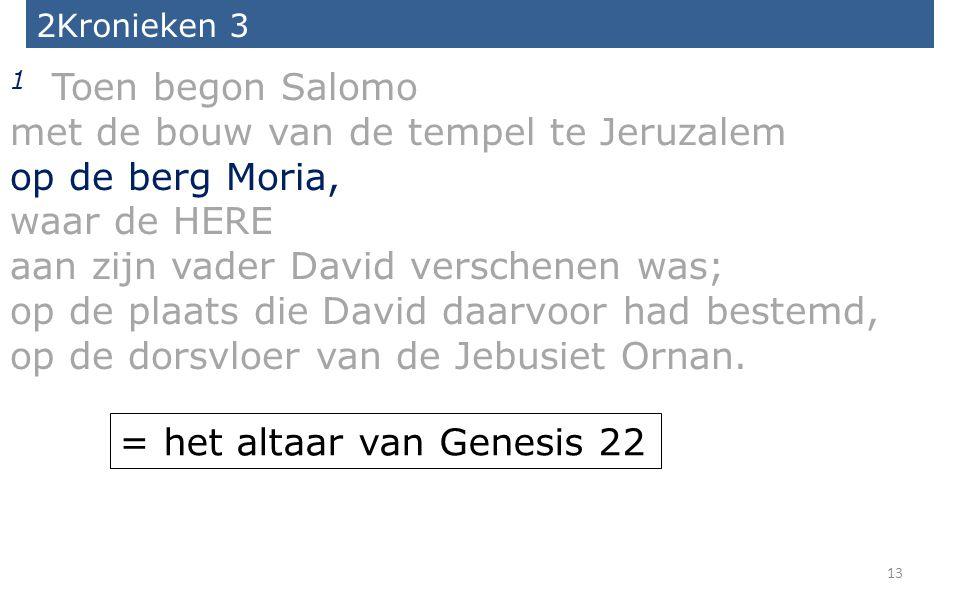 met de bouw van de tempel te Jeruzalem op de berg Moria, waar de HERE