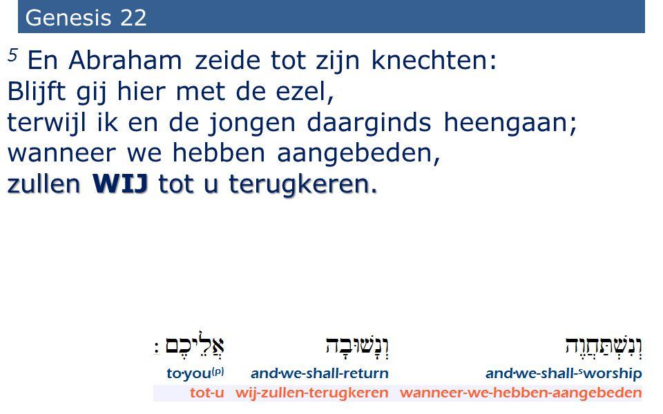 5 En Abraham zeide tot zijn knechten: Blijft gij hier met de ezel,