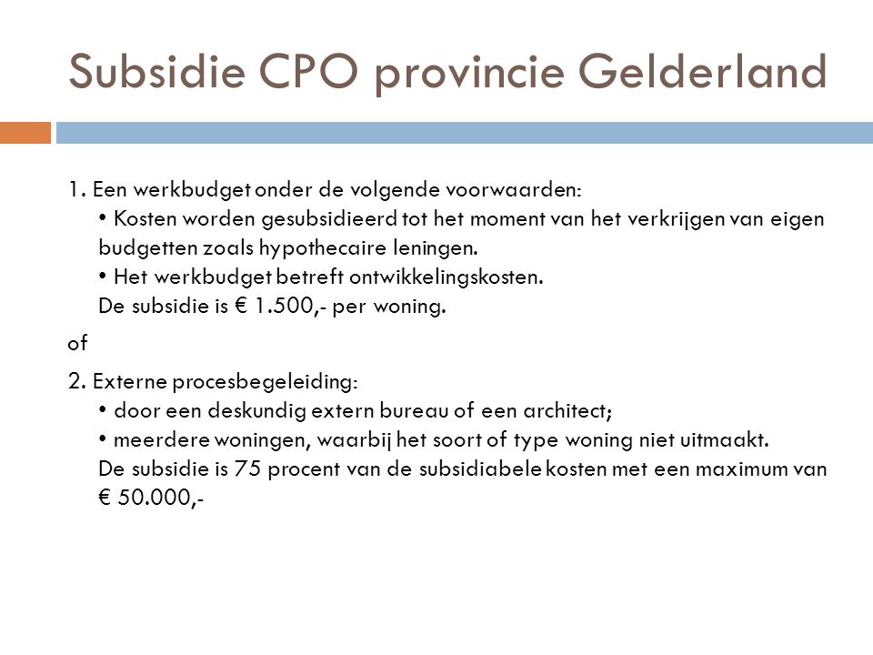 Subsidie CPO provincie Gelderland