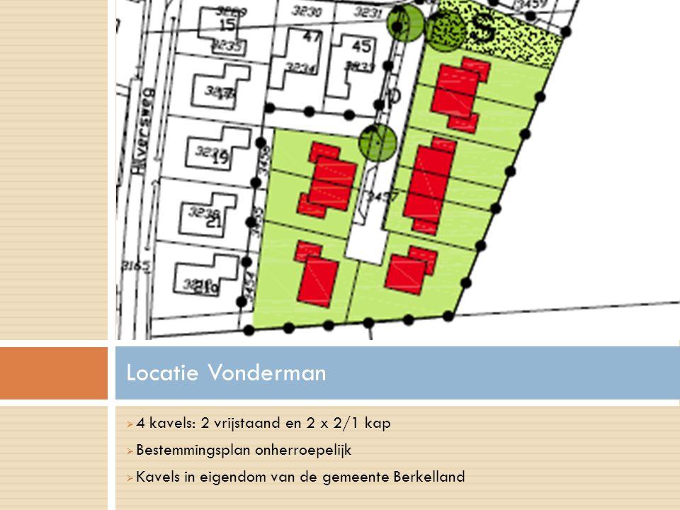 Locatie Vonderman 4 kavels: 2 vrijstaand en 2 x 2/1 kap
