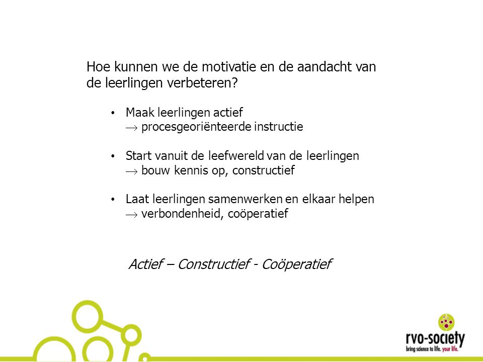 Actief – Constructief - Coöperatief