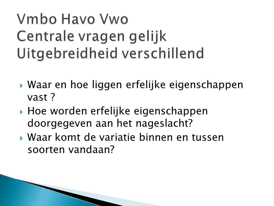 Vmbo Havo Vwo Centrale vragen gelijk Uitgebreidheid verschillend