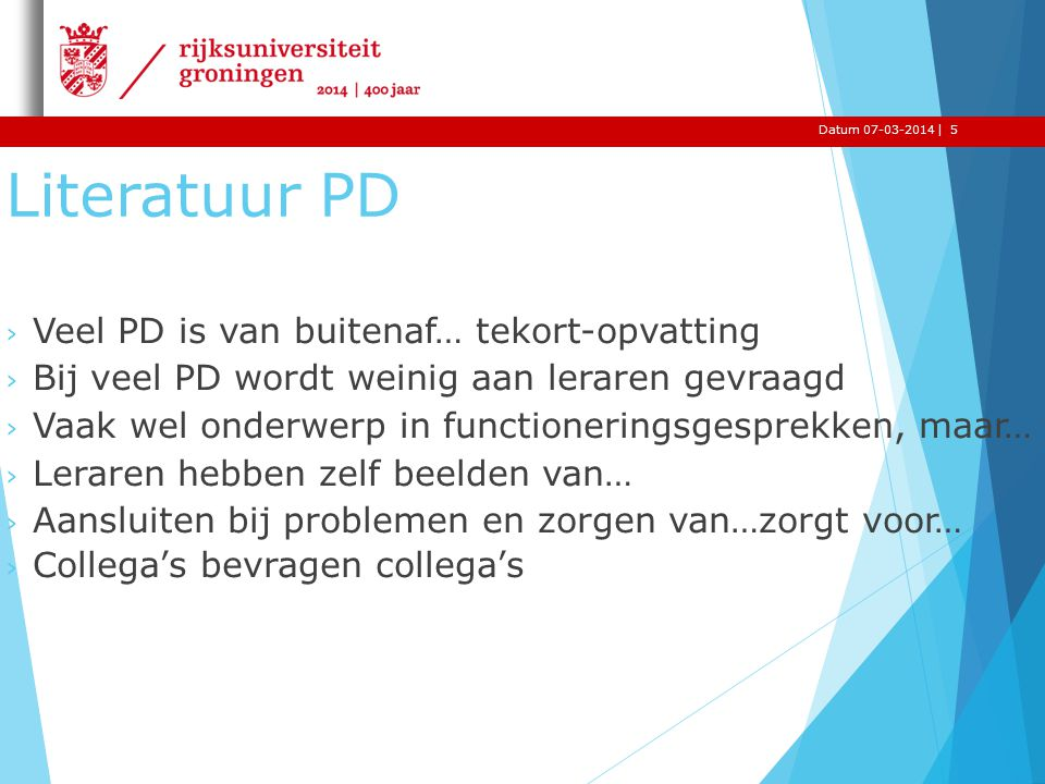 Literatuur PD Veel PD is van buitenaf… tekort-opvatting