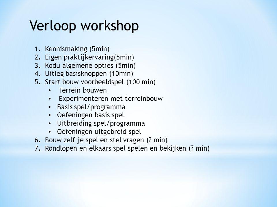 Verloop workshop Kennismaking (5min) Eigen praktijkervaring(5min)