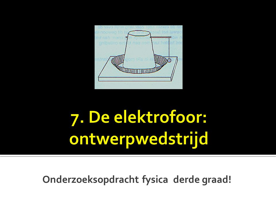 7. De elektrofoor: ontwerpwedstrijd