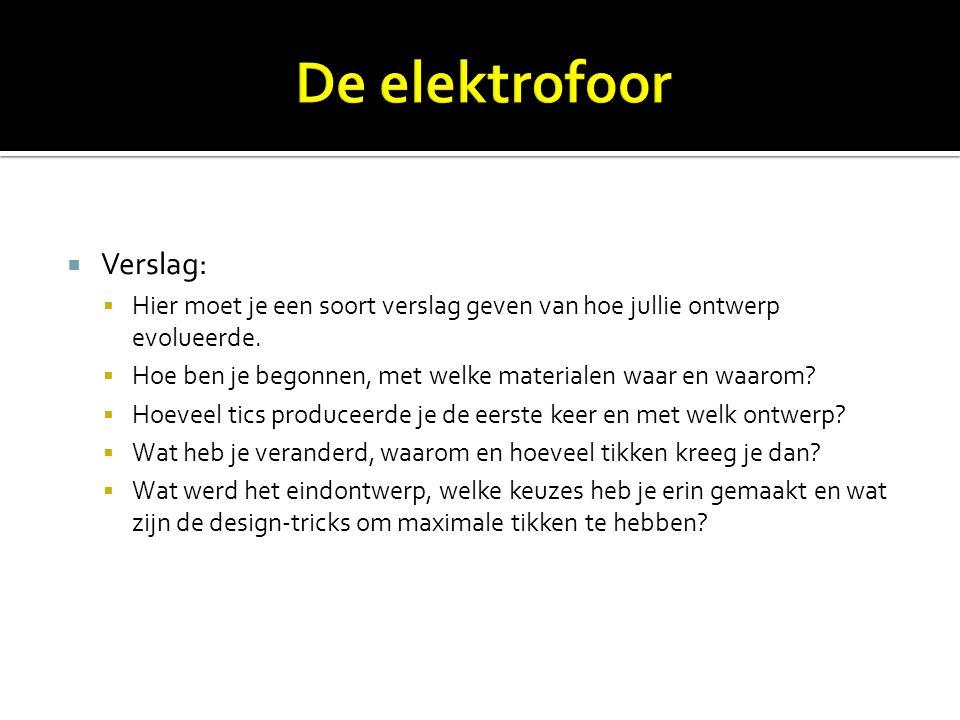 De elektrofoor Verslag: