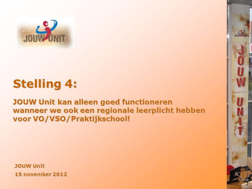 Stelling 4: JOUW Unit kan alleen goed functioneren wanneer we ook een regionale leerplicht hebben voor VO/VSO/Praktijkschool!