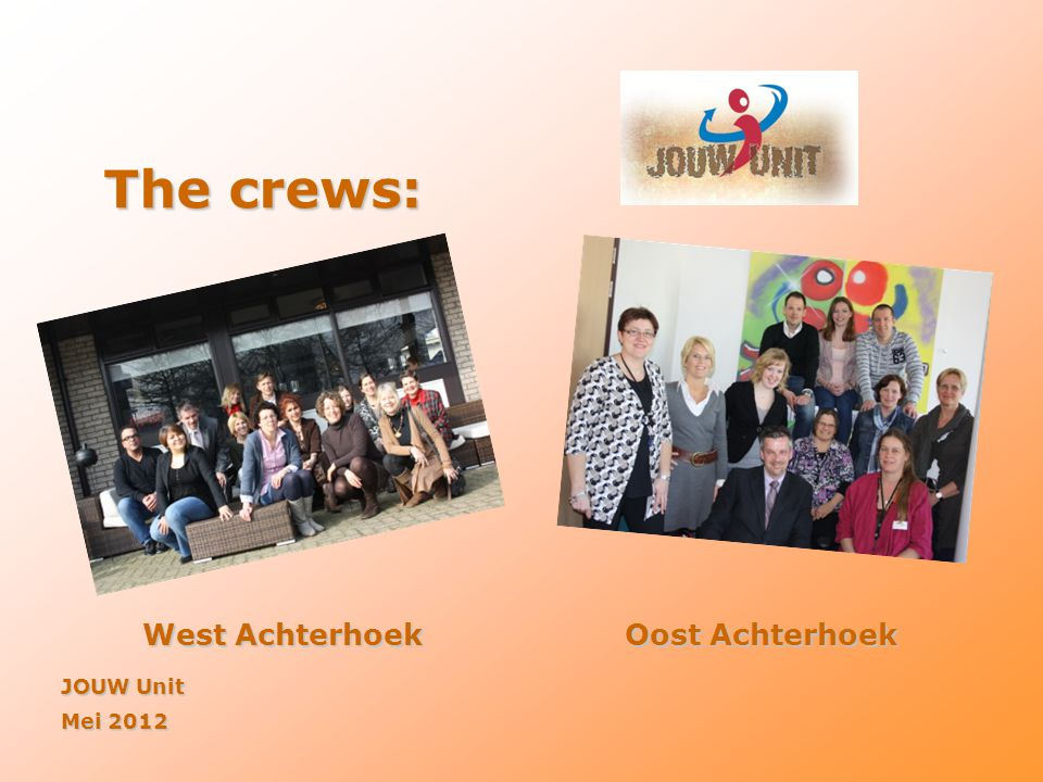 The crews: West Achterhoek Oost Achterhoek JOUW Unit Mei 2012