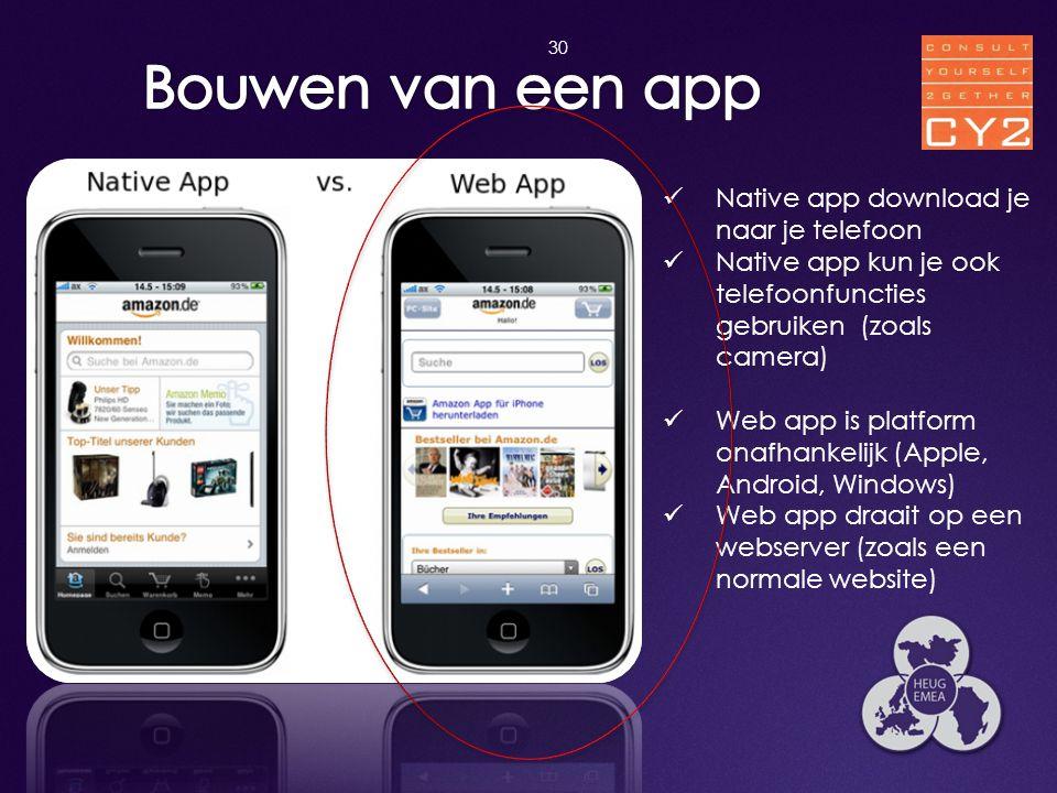 Bouwen van een app Native app download je naar je telefoon