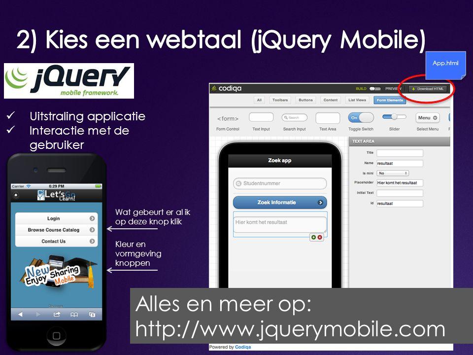 2) Kies een webtaal (jQuery Mobile)