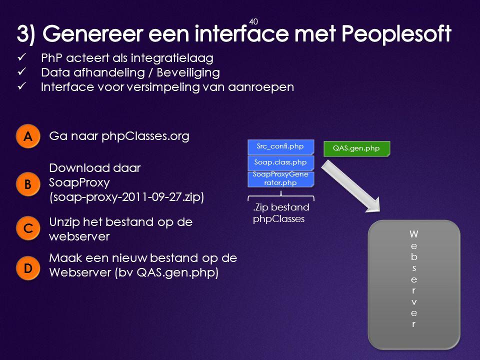 3) Genereer een interface met Peoplesoft