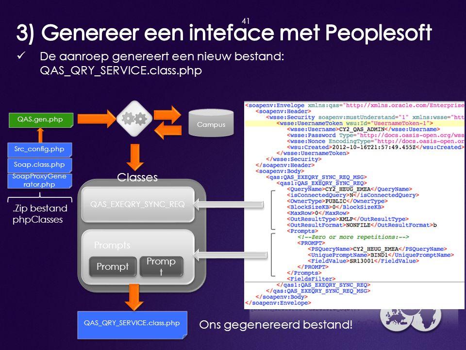 3) Genereer een inteface met Peoplesoft