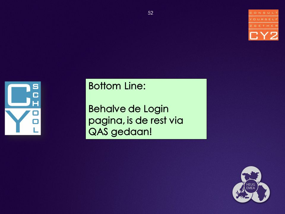Behalve de Login pagina, is de rest via QAS gedaan!