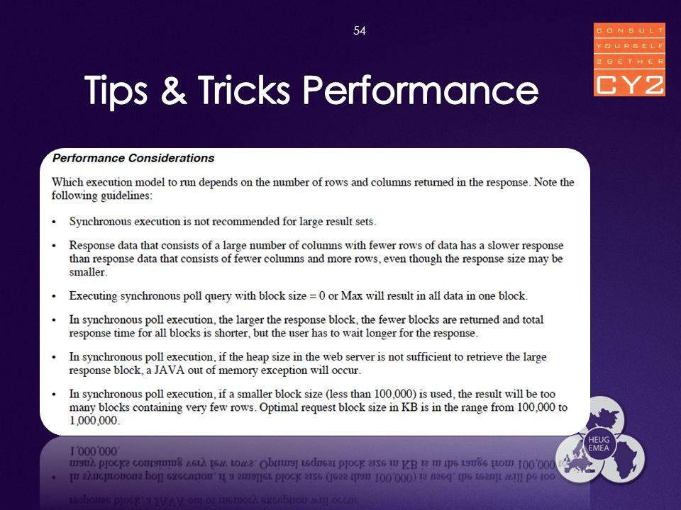 Tips & Tricks Performance