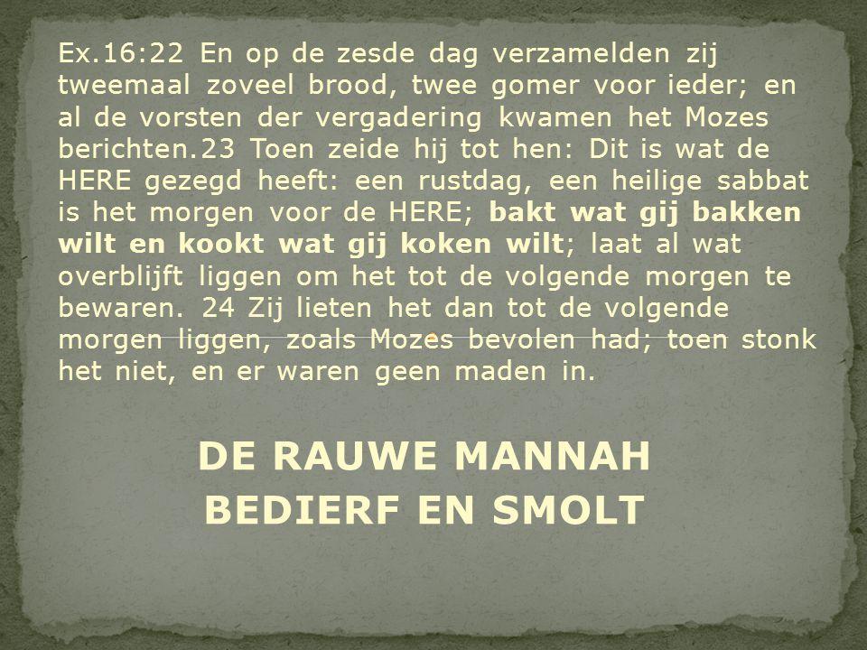 DE RAUWE MANNAH BEDIERF EN SMOLT