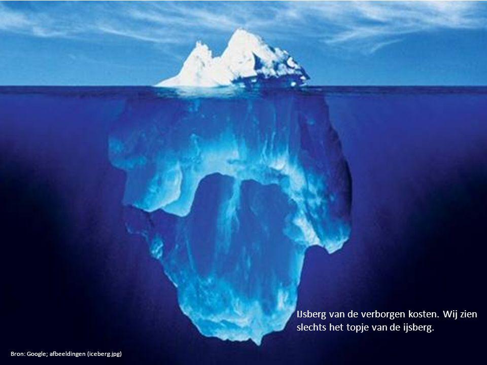 IJsberg van de verborgen kosten. Wij zien