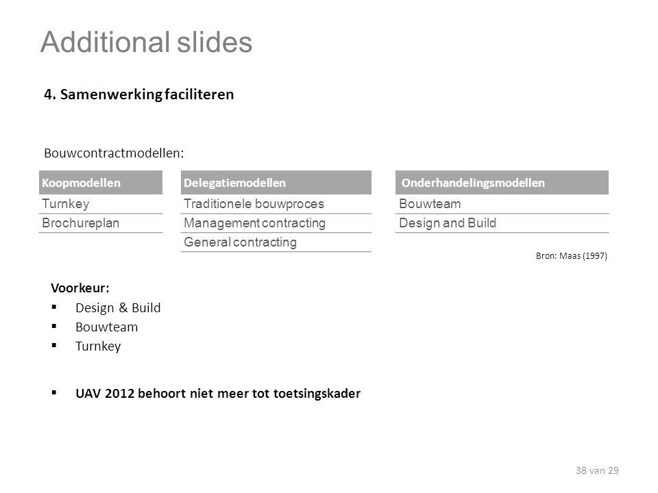 Additional slides 4. Samenwerking faciliteren Bouwcontractmodellen: