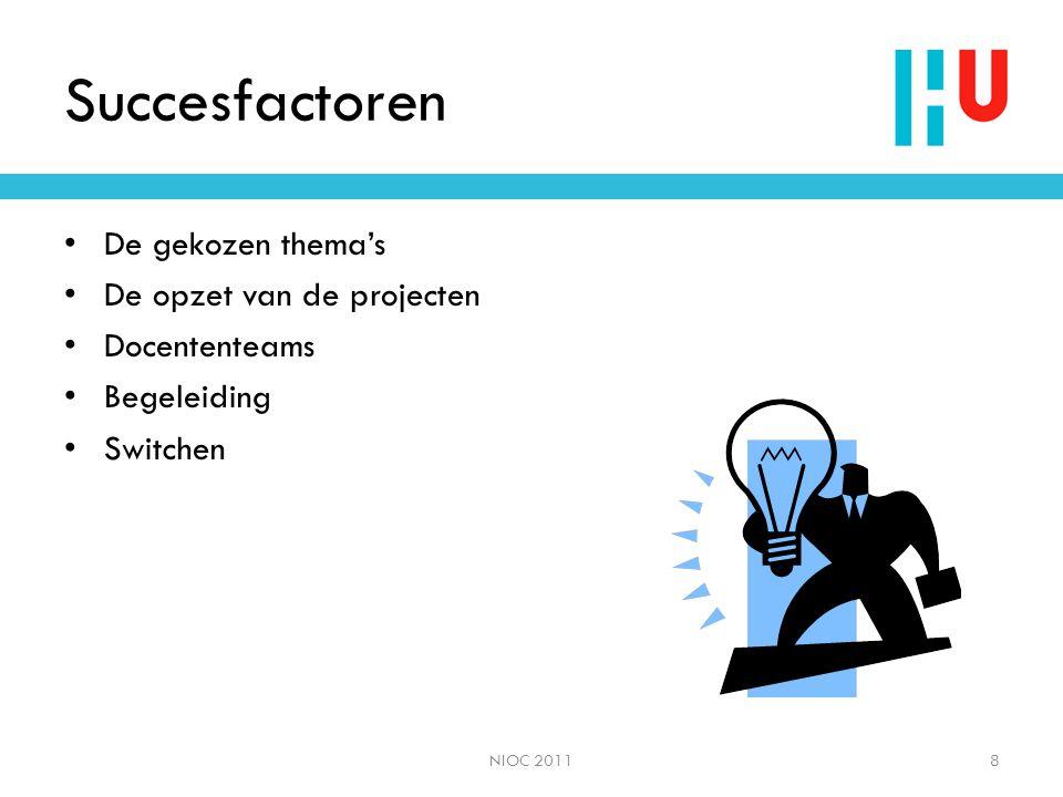 Succesfactoren De gekozen thema's De opzet van de projecten