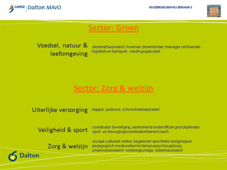 Sector: Groen Sector: Zorg & welzijn