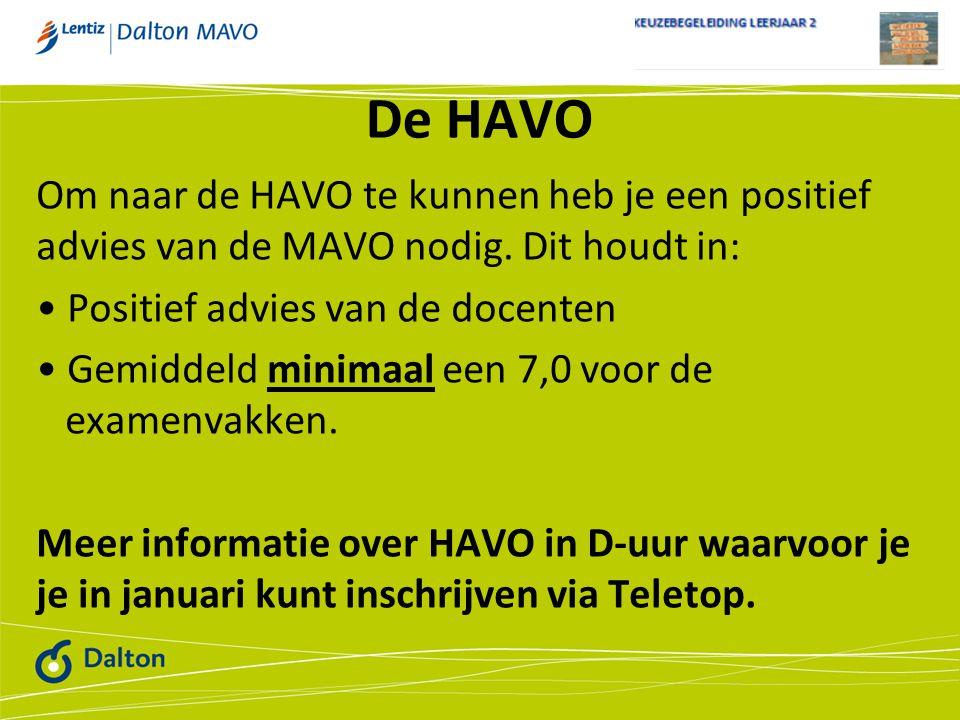 De HAVO Om naar de HAVO te kunnen heb je een positief advies van de MAVO nodig. Dit houdt in: Positief advies van de docenten.