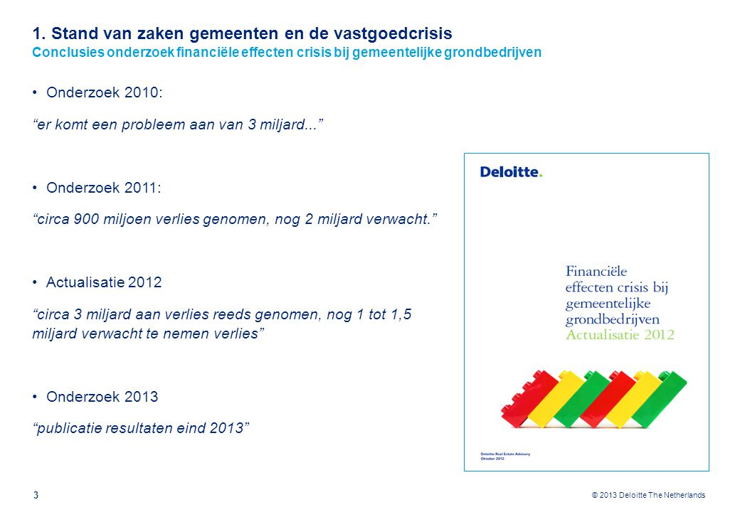 1. Stand van zaken gemeenten en de vastgoedcrisis Verliezen in 2011 en nog te verwachten verliezen