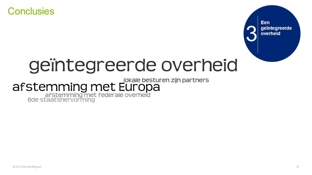 Conclusies 3 Een geïntegreerde overheid © 2014 Deloitte Belgium