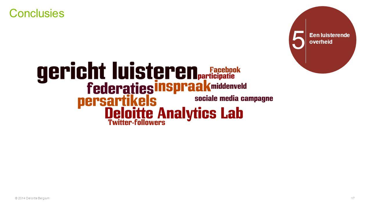 Conclusies 5 Een luisterende overheid © 2014 Deloitte Belgium
