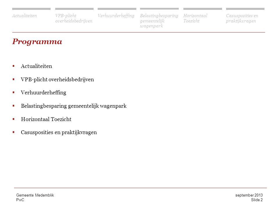 Programma Actualiteiten VPB-plicht overheidsbedrijven