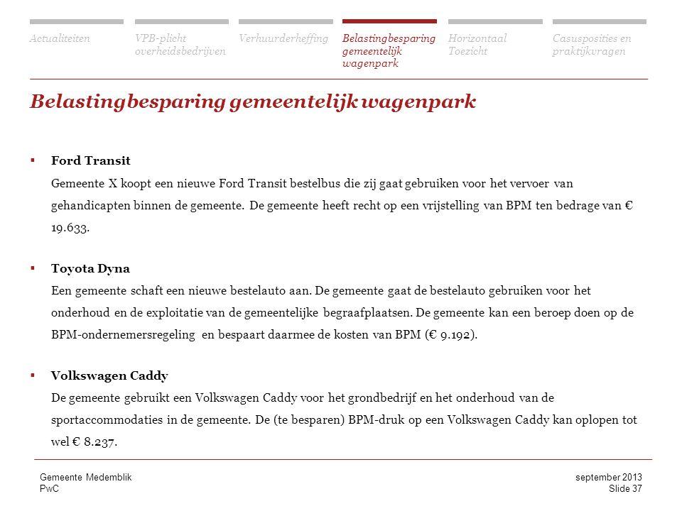 Belastingbesparing gemeentelijk wagenpark