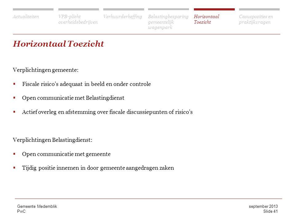 Horizontaal Toezicht Verplichtingen gemeente: