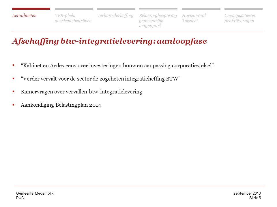 Afschaffing btw-integratielevering: aanloopfase
