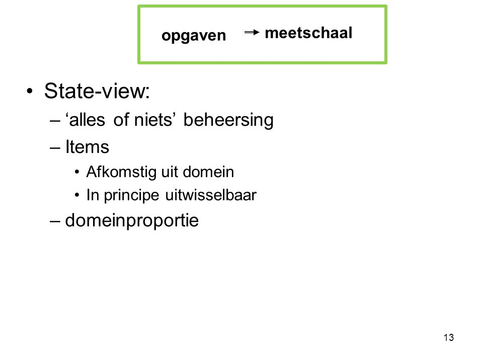 State-view: 'alles of niets' beheersing Items domeinproportie