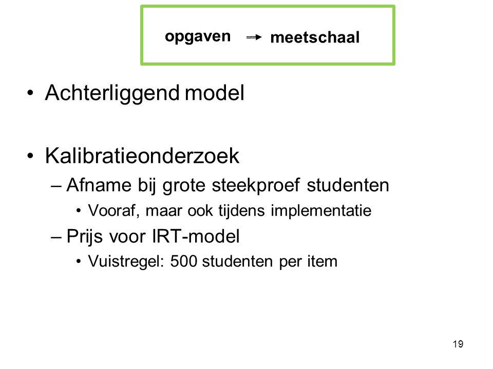 Achterliggend model Kalibratieonderzoek