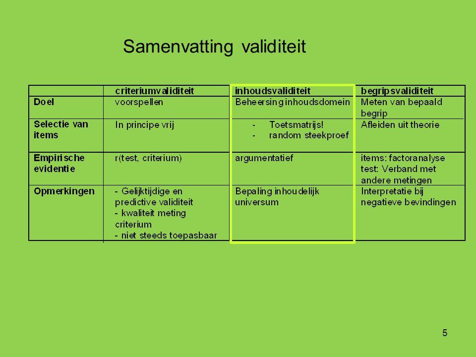 Samenvatting validiteit