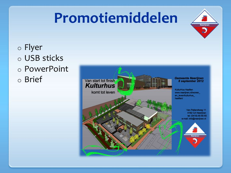 Promotiemiddelen Flyer USB sticks PowerPoint Brief