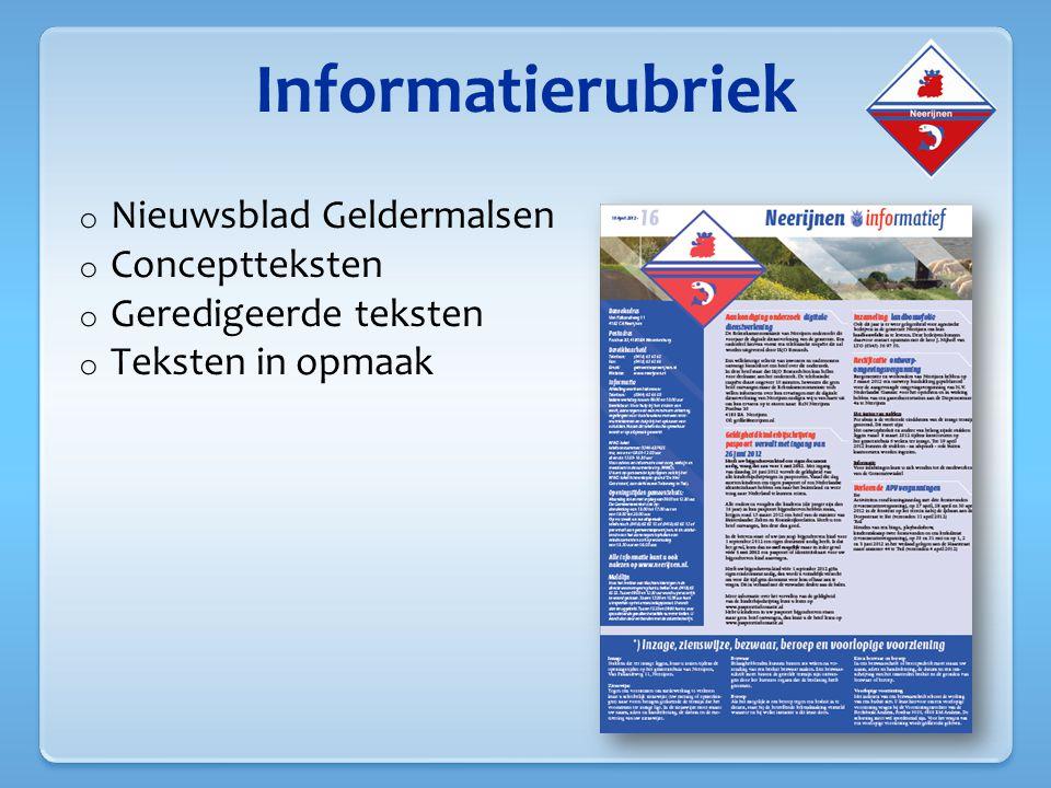Informatierubriek Nieuwsblad Geldermalsen Conceptteksten