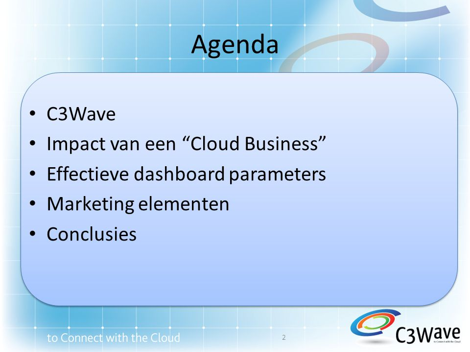 Agenda C3Wave Impact van een Cloud Business