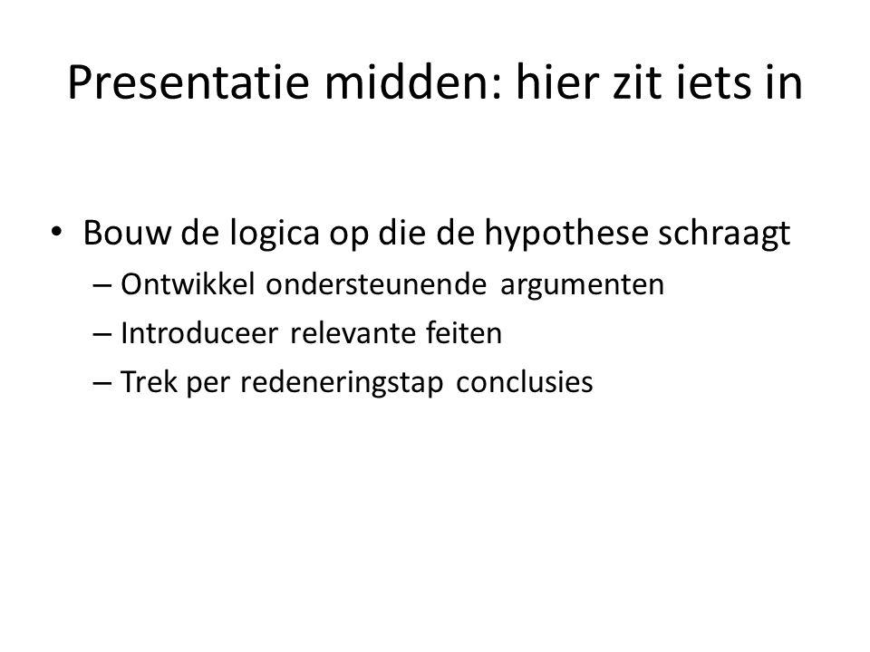 Presentatie midden: hier zit iets in
