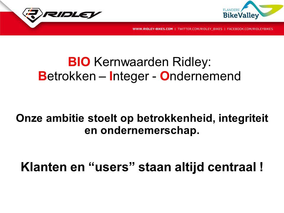 BIO Kernwaarden Ridley: Betrokken – Integer - Ondernemend