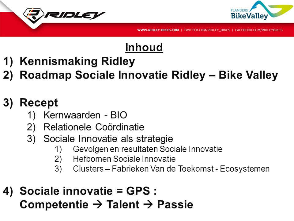 Roadmap Sociale Innovatie Ridley – Bike Valley Recept