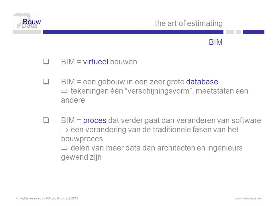 the art of estimating BIM BIM = virtueel bouwen