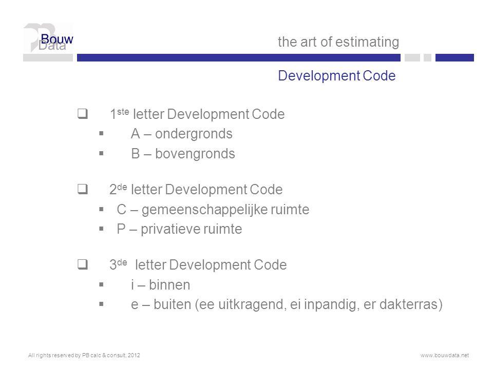 1ste letter Development Code A – ondergronds B – bovengronds