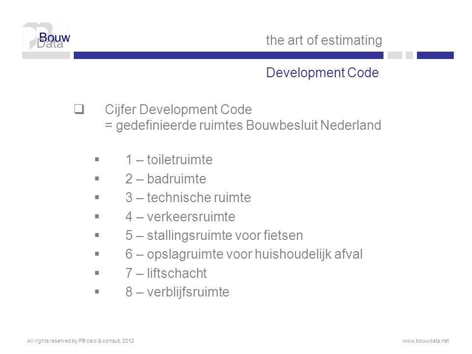 Cijfer Development Code = gedefinieerde ruimtes Bouwbesluit Nederland