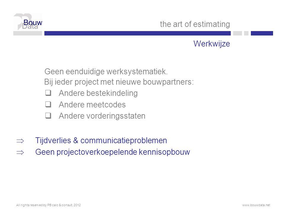 the art of estimating Werkwijze. Geen eenduidige werksystematiek. Bij ieder project met nieuwe bouwpartners: