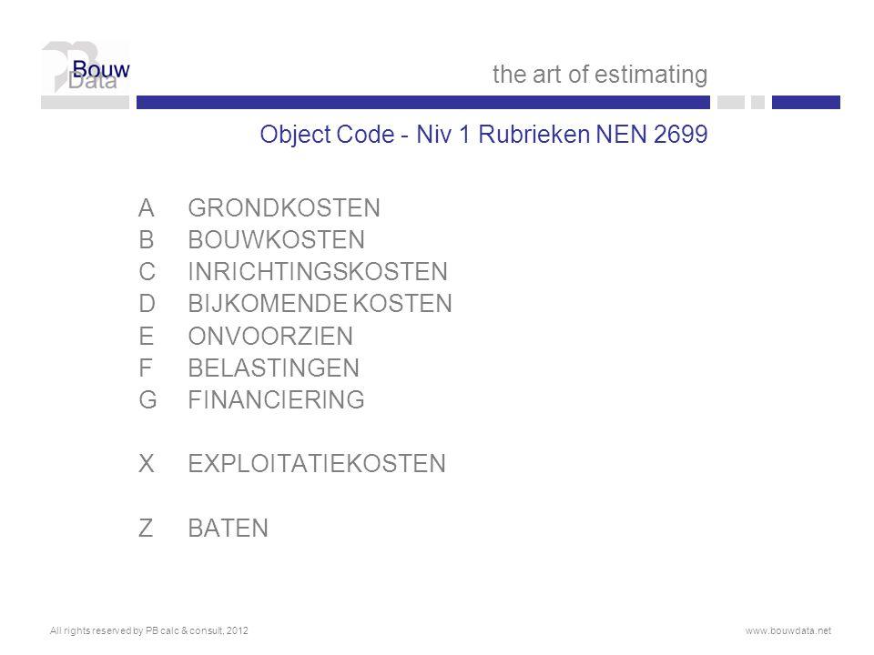 Object Code - Niv 1 Rubrieken NEN 2699