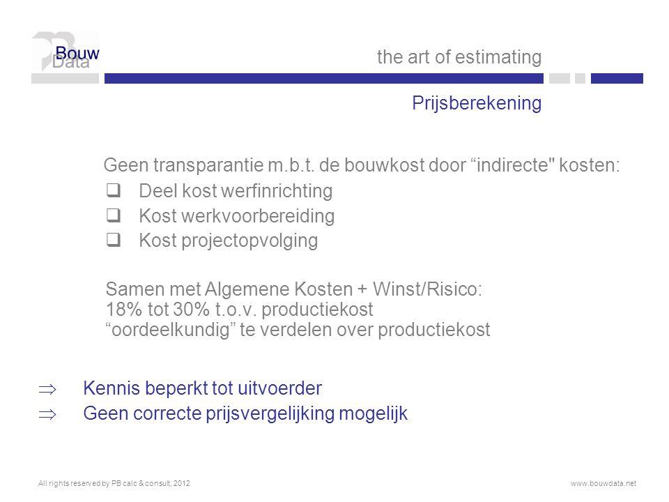 Geen transparantie m.b.t. de bouwkost door indirecte kosten: