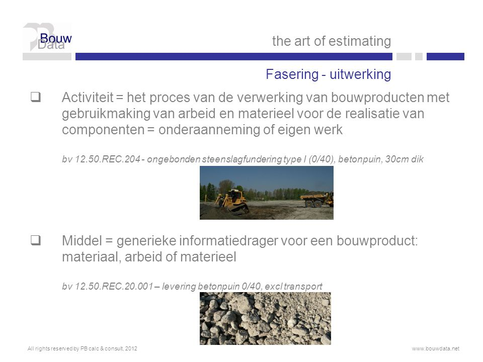 the art of estimating Fasering - uitwerking