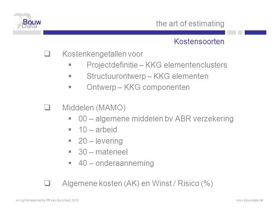 Kostenkengetallen voor Projectdefinitie – KKG elementenclusters