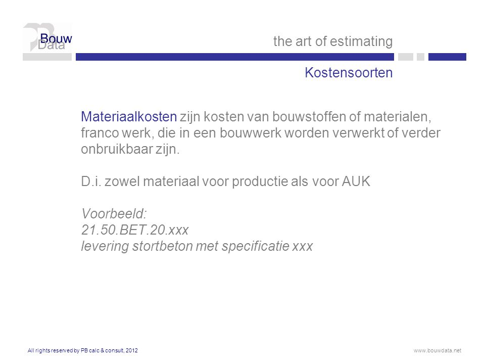 the art of estimating Kostensoorten